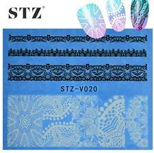 White Sexy Lace Full Nail Art Water Transfer Decal Decoration Stickers STZ-V020