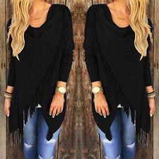 Women Long Sleeve Knitted Cardigan Loose Sweater Outwear Jacket tassels Coat NWT