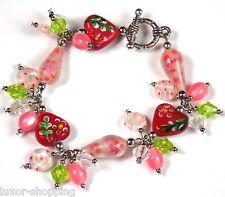 Bettelarmband Armband Lampwork Glasperlen Millefiori Cateyes Modeschmuck rosa