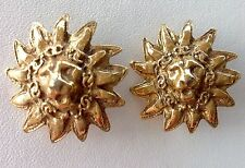 VINTAGE CHANEL LION EMBOSSED GOLD CLIP EARRINGS