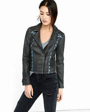EXPRESS GRAY EMBROIDERED MINUS THE LEATHER MOTO JACKET COAT OUTERWEAR MEDIUM