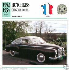 HOTCHKISS GREGOIRE COUPE 1952 1954 CAR  VOITURE FRANCE CARTE CARD FICHE