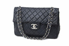 CHANEL Navy Blue 2.55 Caviar Quilted Jumbo Classic Double Flap Silver Bag Purse
