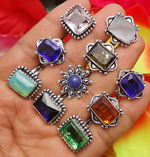 10PCS RING MIX FACETED QUARTZ & STONE WHOLESALE LOT 925 STERLING SILVER OVERLAY