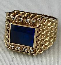 Vintage Men's Ring Synthetic Sapphire & C.Z.14k Gold Plated  Size 9 Last 1
