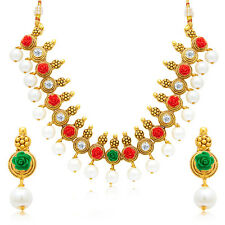 Sukkhi Pretty Flower Gold Plated AD Necklace Set For Women(3207NGLDPP1200)