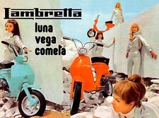 VINTAGE MOD Ragazze 1960's LAMBRETTA SCOOTER POSTER A3 stampa re