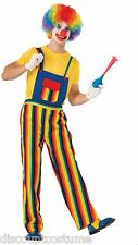 STRIPES THE CLOWN MULTI-COLORED ADULT UNISEX HALLOWEEN COSTUME SHIRT & OVERALLS