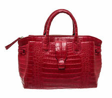Nancy Gonzalez Red Crocodile Skin Zip Top Satchel Handbag