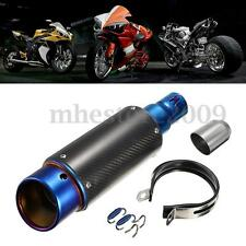 38-51mm Motorcycle Frosted Carbon Fiber Exhaust Muffler Tip Silencer Street Bike