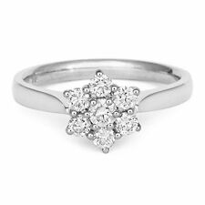 18Carat White Gold Quarter Carat Diamond Seven Stone Daisy Cluster Ring 0.25cts