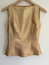 Vintage 1950s Gold Lame Shell Floral Damask Fitted Boatneck Button Back Lined XS