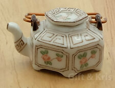 Dollhouse Miniature Ceramic Chinese Porcelain Teapot Painted - TP008