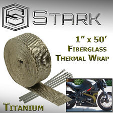 "1"" x 50' Ft Motorcycle Header Exhaust Heat Wrap Fiberglass Manifold - Titanium"
