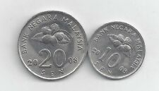 2 DIFFERENT COINS from MALAYSIA - 10 & 20 SEN (BOTH DATING 2008)