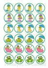 24 Edible cake toppers decorations cute green weather frogs mixed