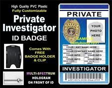 PRIVATE INVESTIGATOR ID Badge / Card CUSTOM W YOUR PHOTO / INFO PI ~ Holographic
