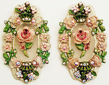 Michal Negrin Vintage Victorian Antique Style Roses Crystals Lace Clip Earrings