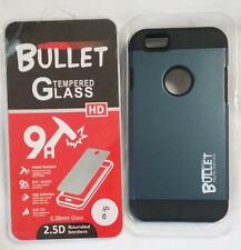 GREY BULLET HARD CELL PHONE CASE & SHATTER PROOF PROTECTIVE GLASS FOR IPHONE6