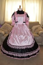 Amazing Long Black Satin Adult Sissy Maids Dress with Pink Apron size xxl