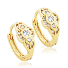 Vintage Womens jewelry Filigreel 18K gold filled Flower crystal Hoop earrings