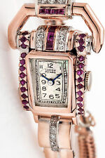 Antique 1940s Lucien Piccard 1.50ct Natural RUBY Diamond Ladies Watch WARRANTY