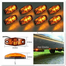 8xLED Front Side Marker Amber Light Indicator 12/24v Truck Car Van Trailers Lamp