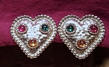"Vintage EDOUARD RAMBAUD PARIS Signed Etruscan Gripoix Cabochon ""Hearts"" EARRINGS"