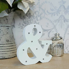 White LED & Ampersand And Light Up Wooden Letter Alphabet Light Ornament