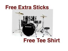 New Ludwig LC175 Accent Drive 5-Piece Complete Drum Set with  Cymbals-Black