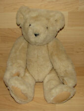 Vermont Teddy Bear Company Tan Jointed Plush Toy Stuffed Velvet Hand Feet 15""