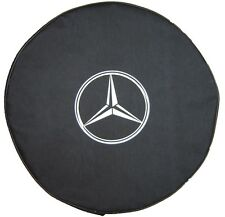 "SpareCover® Brawny Series - Mercedes-Benz Logo 30"" Black DenimVinyl Tire Cover"