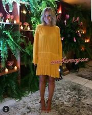 ZARA NEW MUSTARD BEADED GATHERED HIP FLOWY LONG SLEEVE DRESS SIZE XS 6