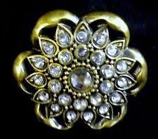 "New Cabinet or Drawer Pull Knob-Metal Flower with Rhinestones - 2"" Diameter"