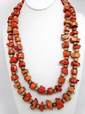 "Antique Tibetan Natural Undyed Red Coral Bead 56"" Necklace 312g"