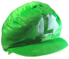 "Nintendo Super Mario Brothers Bros 12"" Luigi Halloween Costume Green Plush Hat"