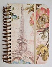 """Spiral Notebook- Small: """"Paris Forever"""" Design with Eiffel Tower & Flowers"""