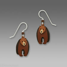 Sienna Sky 3 Part Brown Bear EARRINGS Three Sterling Silver Earwires Black - Box