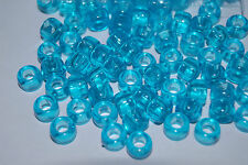 135 Turquoise Transparent Pony Beads Hair Crafts Kandi Rave USA Free Shipping