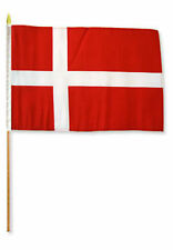 "12x18 12""x18"" Denmark Stick Flag wood 30 inch staff"