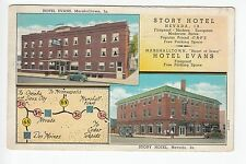 2 Views Story Hotel in Nevada and Hotel Evans in Marshalltown Iowa