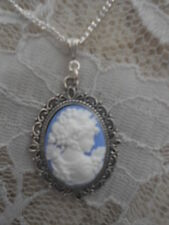 WHITE ON BLUE CAMEO LADY NECKLACE
