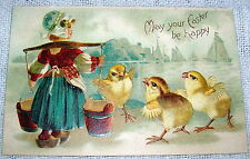 Vintage Dutch Girl with Chicks Easter Greetings  Postcard