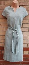 TU LIGHT BLUE BELTED TAILORED FORMAL 100% LINEN WORK TUBE PENCIL BODYCON DRESS S