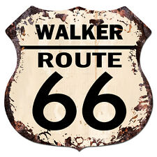 BPHR0028 WALKER ROUTE 66 Shield Rustic Chic Sign  MAN CAVE Funny Decor Gift