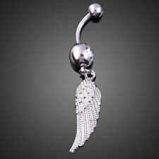 3D Feathers Wing Pendant Woman Belly Button Ring Jewelry Silver