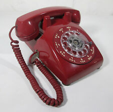 Vintage Red Dial Telephone Western Electric Rotary Desk Phone Model 500 Bell
