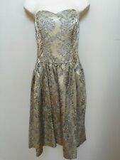 Molly New York Champagne Silver Shiny Brocade Strapless Party Dress Sweetheart 4