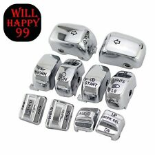 ENGRAVED Chrome Replacement Housing Switch Cap Button Kit For 1996-2013 Harley