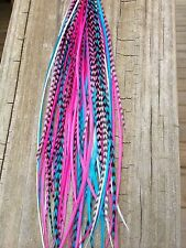 15 Hair Feathers, Feather Hair Extensions saddle XL Turquoise Natural Pink CAN